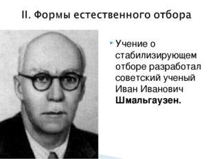 Учение о стабилизирующем отборе разработал советский ученый Иван Иванович Шма