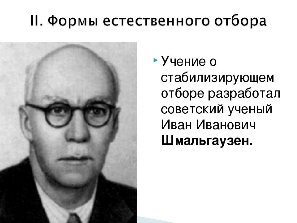 Учение о стабилизирующем отборе разработал советский ученый Иван Иванович Шма...