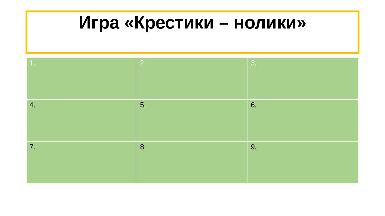 Игра «Крестики – нолики» 1. 2. 3. 4. 5. 6. 7. 8. 9.