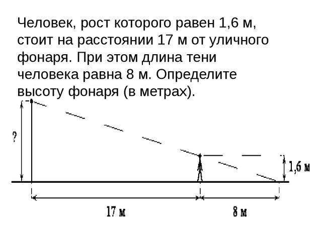 Человек, рост которого равен 1,6м, стоит на расстоянии 17м от уличного фона...