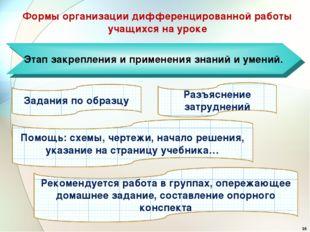 Этап закрепления и применения знаний и умений. Формы организации дифференцир