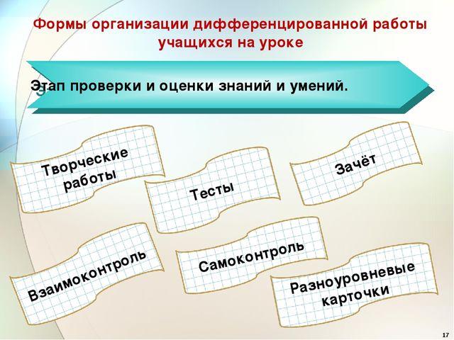 Формы организации дифференцированной работы учащихся на уроке Этап проверки...