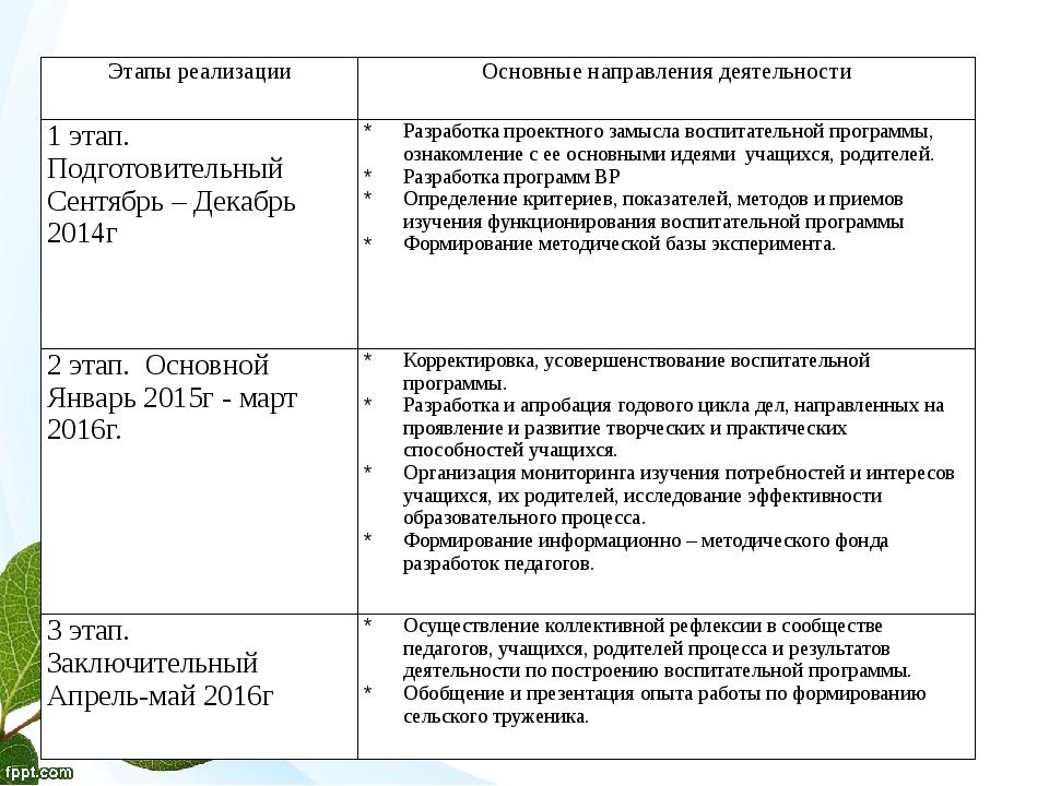 Этапы реализации Основные направления деятельности 1этап. Подготовительный С...