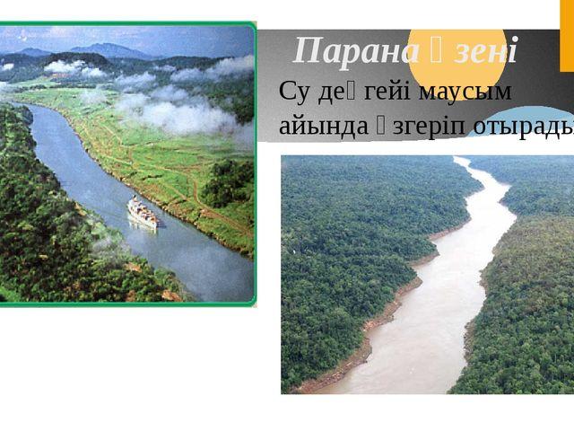 Парана өзені Су деңгейі маусым айында өзгеріп отырады.