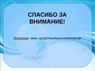 СПАСИБО ЗА ВНИМАНИЕ! Источник: www. профстандартпедагога.рф