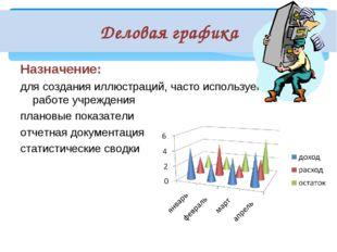 Деловая графика Назначение: для создания иллюстраций, часто используемых в ра