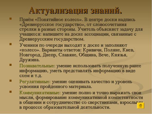 Актуализация знаний. Приём «Понятийное колесо». В центре доски надпись «Древн...