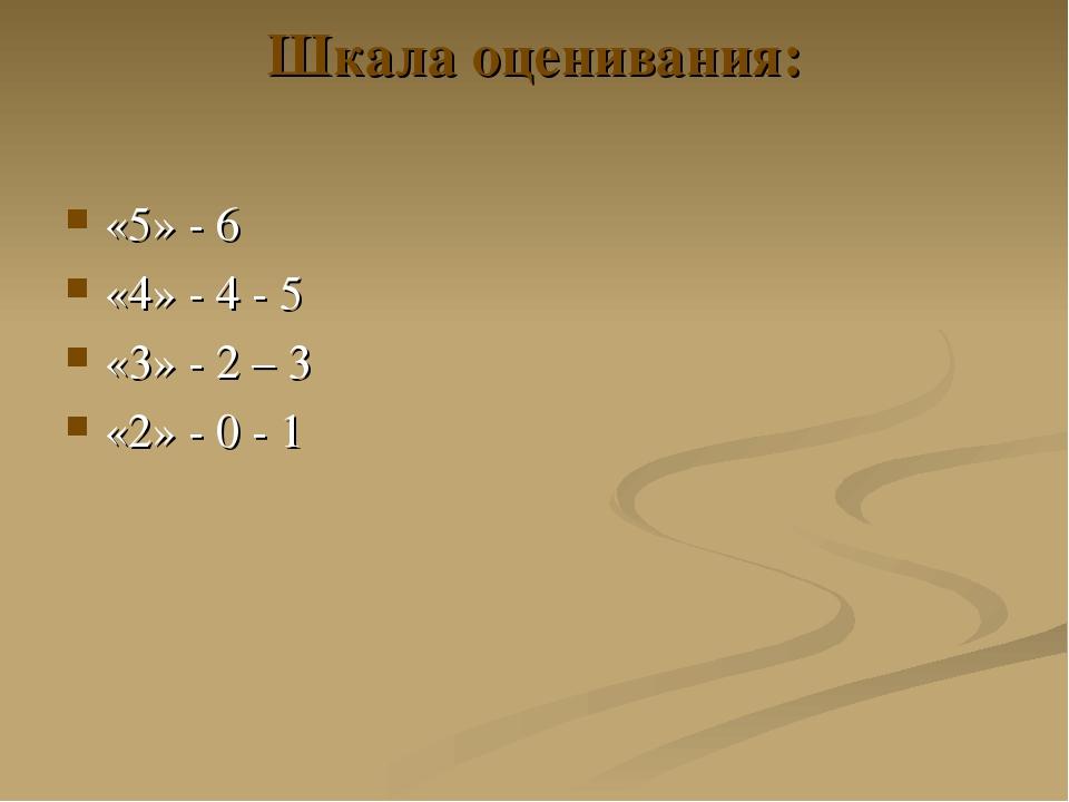Шкала оценивания: «5» - 6 «4» - 4 - 5 «3» - 2 – 3 «2» - 0 - 1