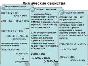 Химические свойства Реакции окисления Реакции окисления Реакции окисления Н2С