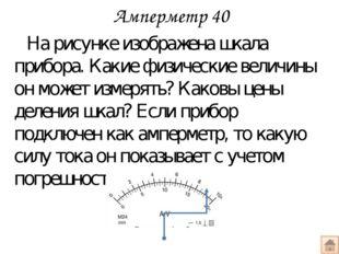 Вольтметр 40 По рисун-ку опреде-лите цену деления каждой шкалы и напряжение,