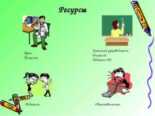 Ресурсы Врач Психолог Классный руководитель Учителя Педагоги ДО Родители Обще