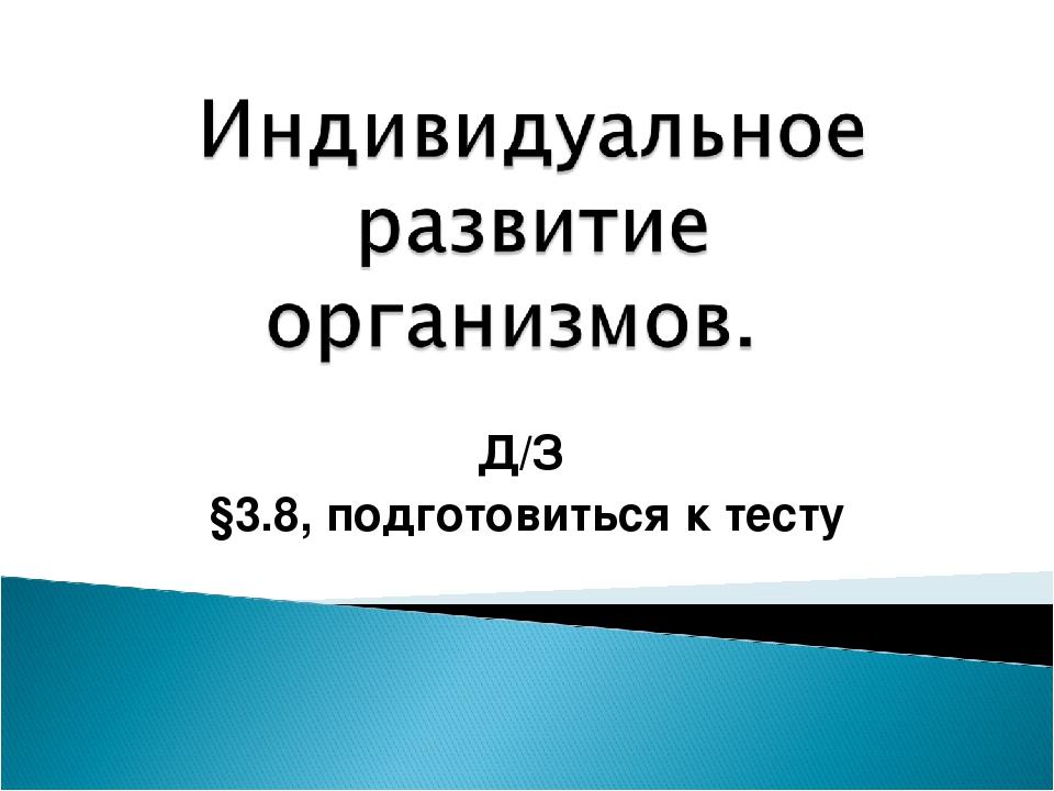 Д/З §3.8, подготовиться к тесту