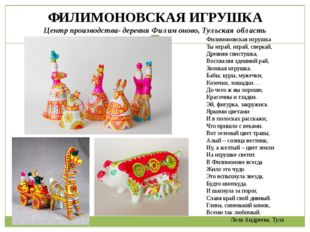 ФИЛИМОНОВСКАЯ ИГРУШКА Центр производства- деревня Филимоново, Тульская област