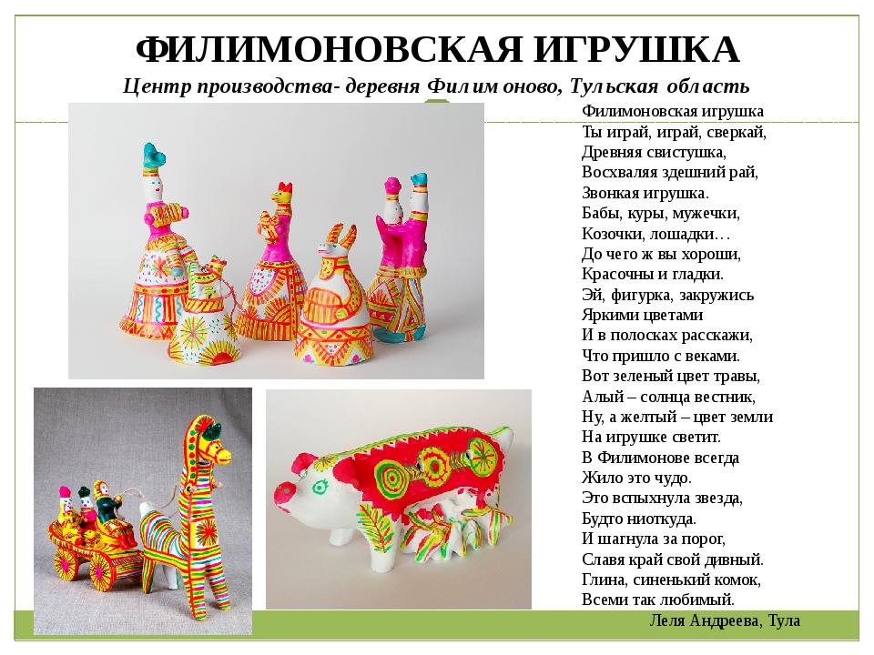 ФИЛИМОНОВСКАЯ ИГРУШКА Центр производства- деревня Филимоново, Тульская област...