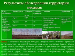 Результаты обследования территории посадки: Вывод: Озеленение территории пос