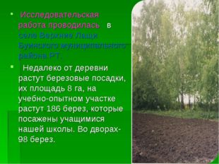 Исследовательская работа проводилась в селе Верхние Лащи Буинского муниципал