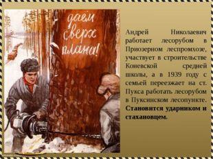 Андрей Николаевич работает лесорубом в Приозерном леспромхозе, участвует в ст