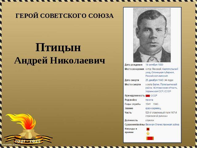 ГЕРОЙ СОВЕТСКОГО СОЮЗА Птицын Андрей Николаевич