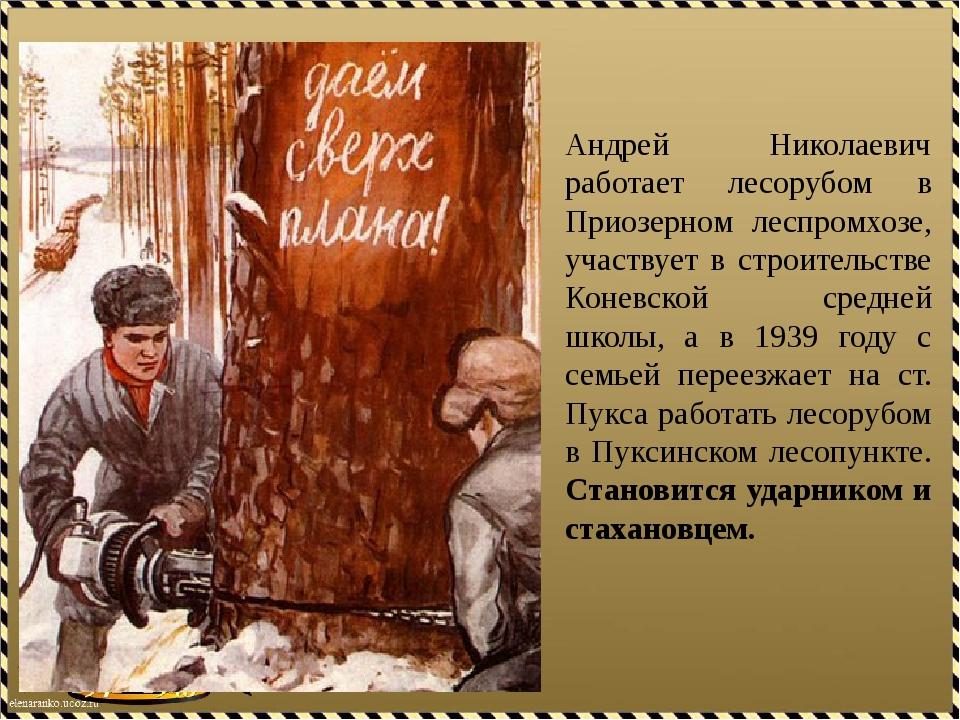 Андрей Николаевич работает лесорубом в Приозерном леспромхозе, участвует в ст...