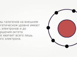 Атомы галогенов на внешнем энергетическом уровне имеют семь электронов и до з