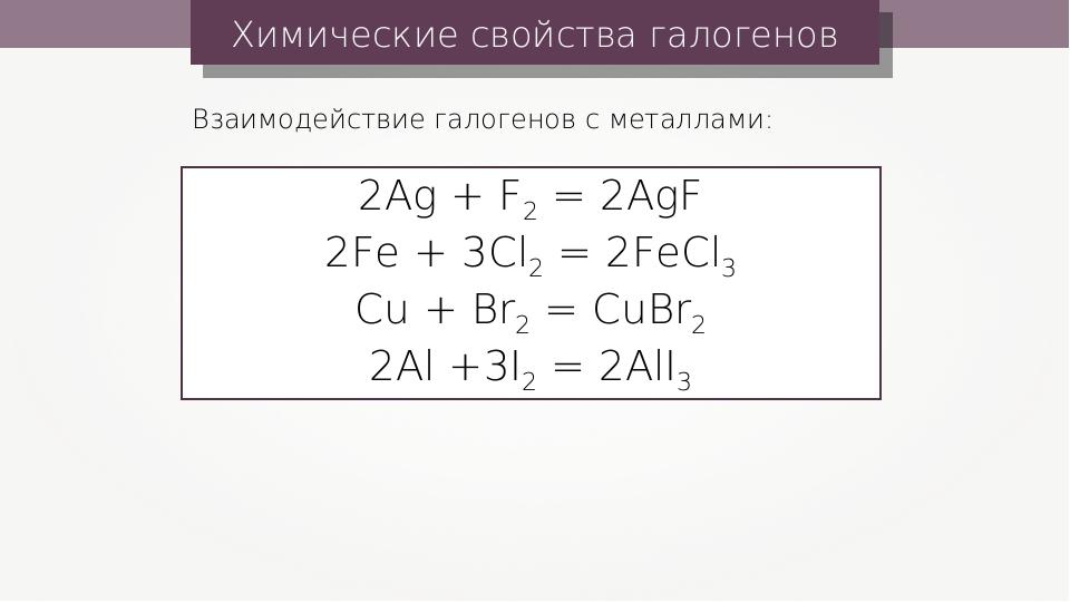 Химические свойства галогенов Взаимодействие галогенов с металлами: 2Ag + F2...