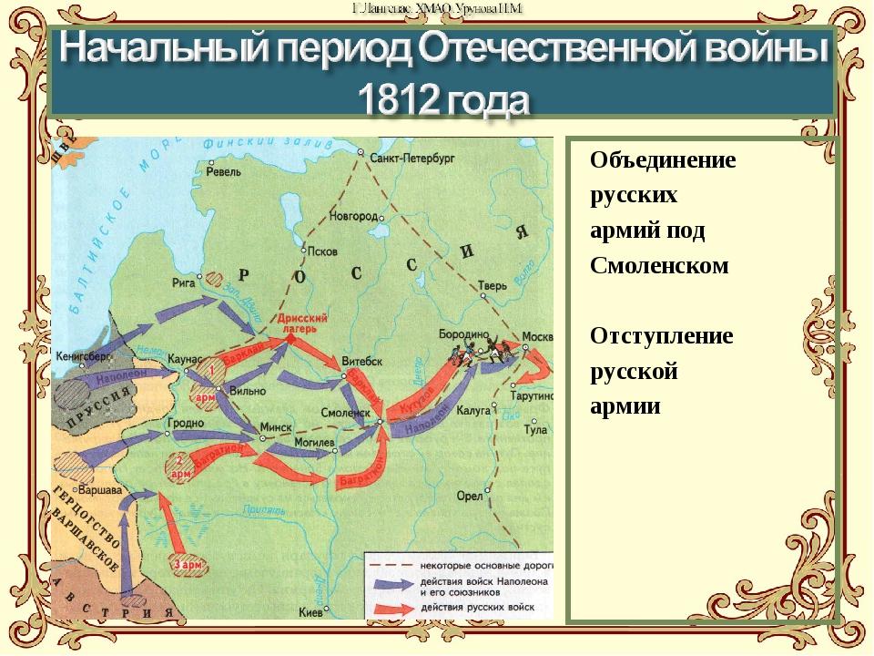 Объединение русских армий под Смоленском Отступление русской армии