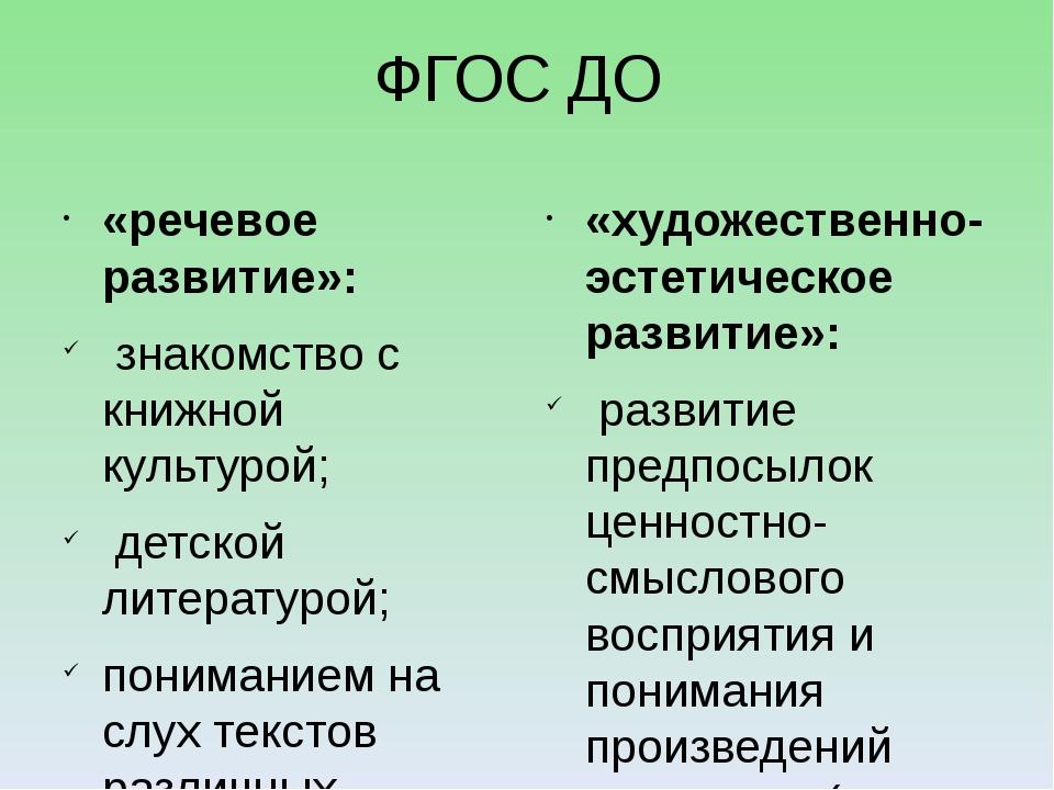 ФГОС ДО «речевое развитие»: знакомство с книжной культурой; детской литератур...