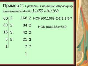 Пример 2: Привести к наименьшему общему знаменателю дроби 11/60 и 31/168 60 2