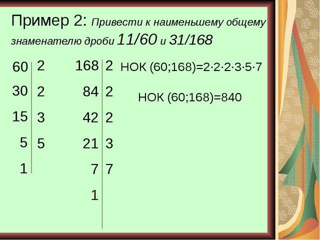 Пример 2: Привести к наименьшему общему знаменателю дроби 11/60 и 31/168 60 2...