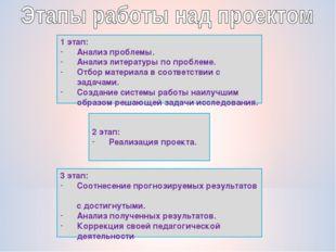 1 этап: Анализ проблемы. Анализ литературы по проблеме. Отбор материала в соо