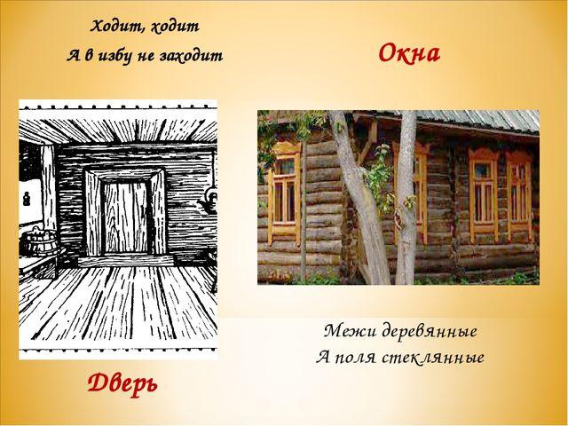 Ходит, ходит А в избу не заходит Дверь Межи деревянные А поля стеклянные Окна
