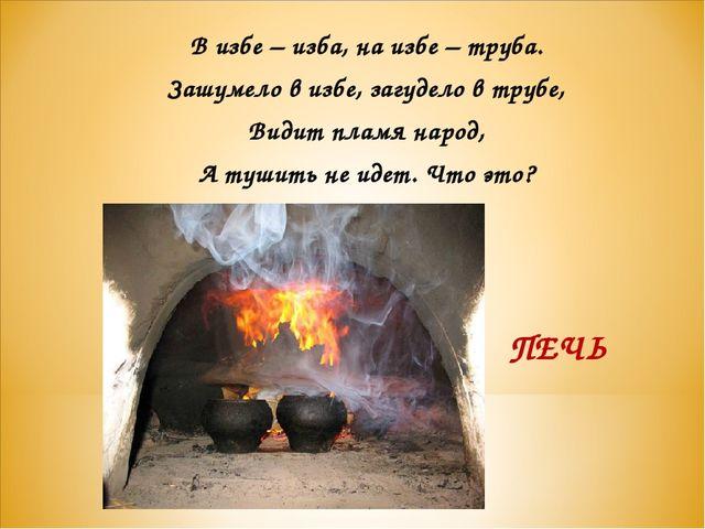 В избе – изба, на избе – труба. Зашумело в избе, загудело в трубе, Видит плам...