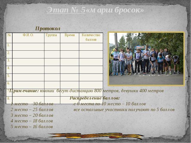 Этап № 5«марш бросок» Протокол Примечание: юноши бегут дистанцию 800 метров,...