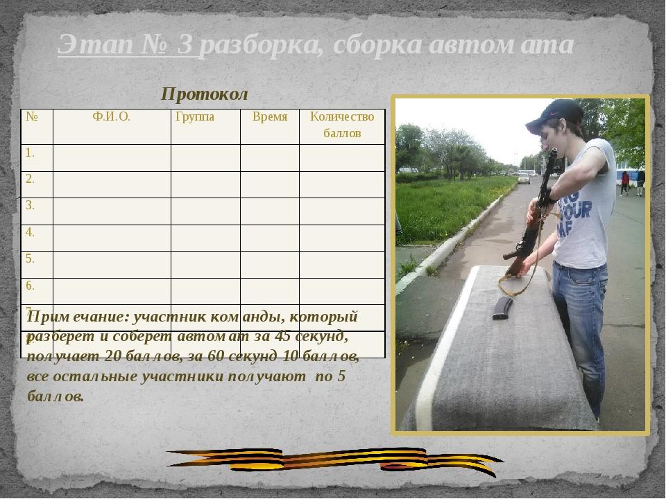 Этап № 3 разборка, сборка автомата Протокол Примечание: участник команды, кот...