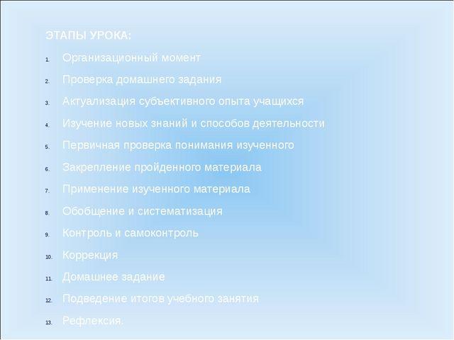 ЭТАПЫ УРОКА: Организационный момент Проверка домашнего задания Актуализация с...