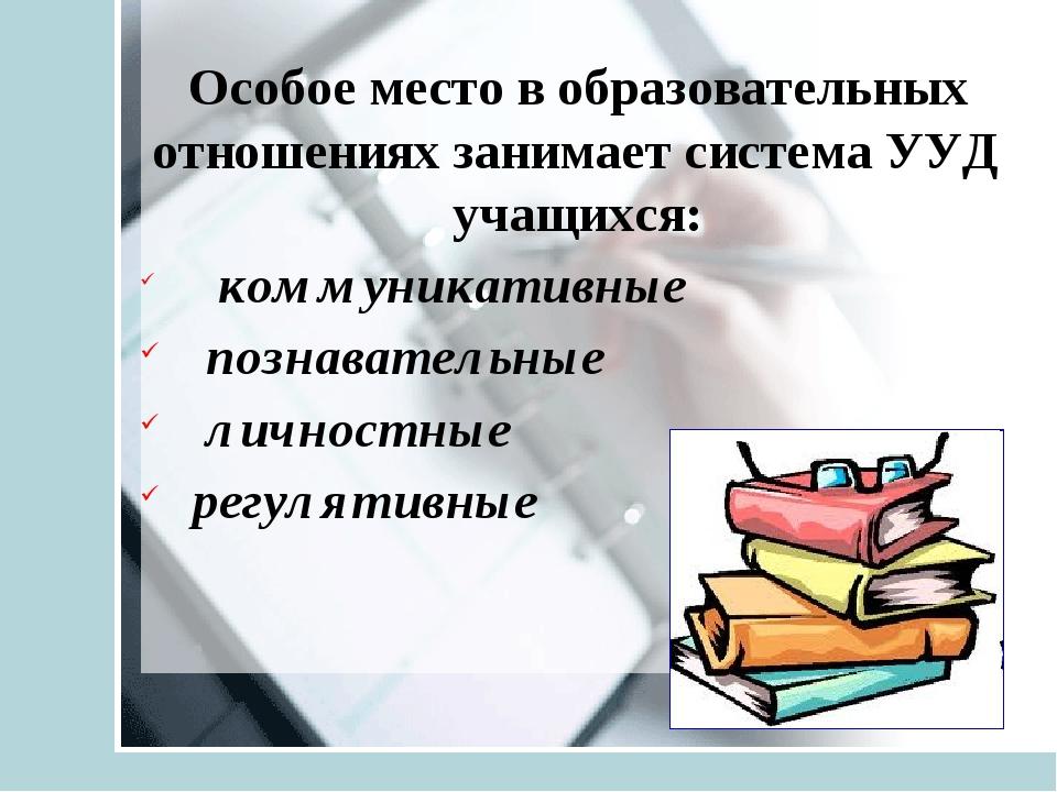 Особое место в образовательных отношениях занимает система УУД учащихся: комм...