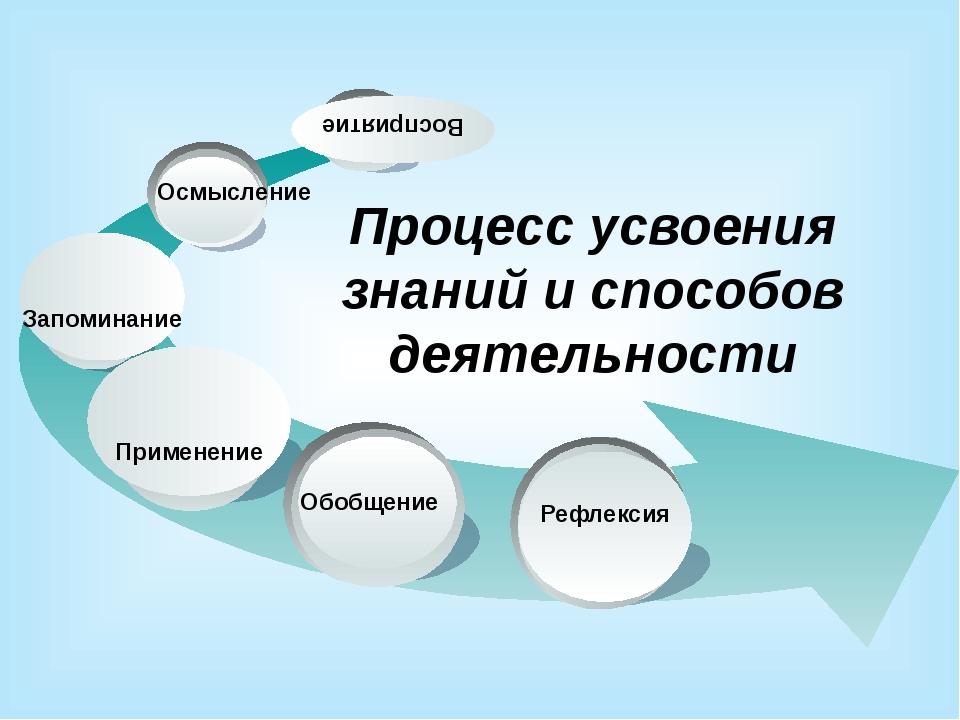Осмысление Восприятие Процесс усвоения знаний и способов деятельности Рефлек...