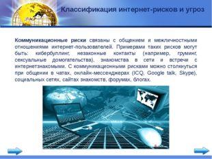Классификация интернет-рисков и угроз Коммуникационные риски связаны с общени