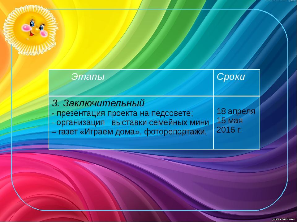 Этапы Сроки 3. Заключительный - презентация проекта на педсовете; - организац...