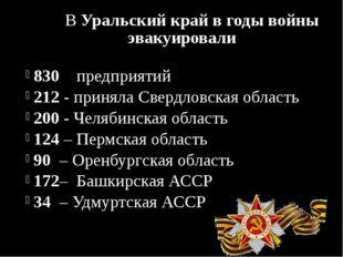 В Уральский край в годы войны эвакуировали 830 предприятий 212 - приняла Све