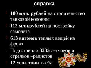 справка 180 млн. рублей на строительство танковой колонны 112 млн.рублей на п