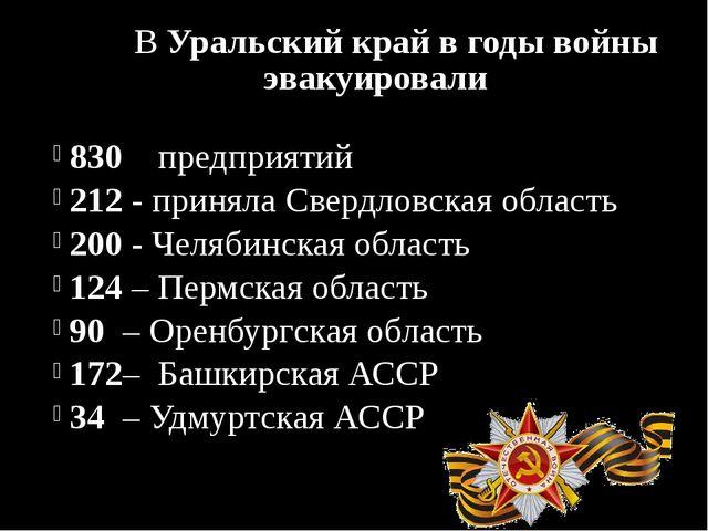 В Уральский край в годы войны эвакуировали 830 предприятий 212 - приняла Све...