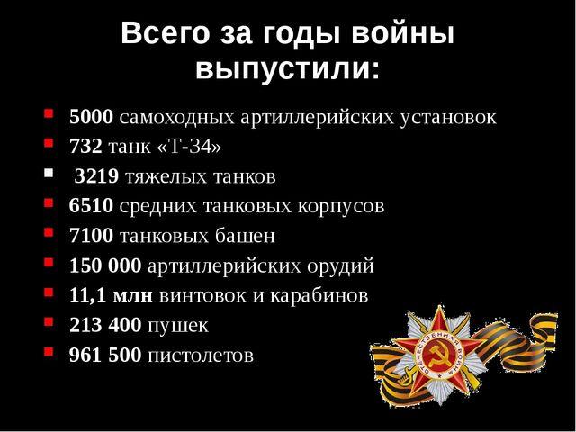 Всего за годы войны выпустили: 5000 самоходных артиллерийских установок 732 т...