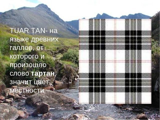 TUAR TAN- на языке древних галлов, от которого и произошло слово тартан, знач...