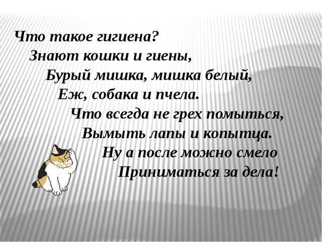 Что такое гигиена? Знают кошки и гиены, Бурый мишка, мишка белый, Еж, собака...