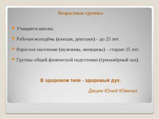 Возрастные группы: Учащиеся школы. Рабочая молодёжь (юноши, девушки) – до 25