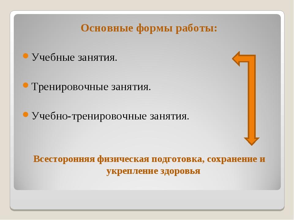 Основные формы работы: Учебные занятия. Тренировочные занятия. Учебно-трениро...