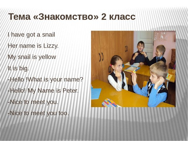 Тема «Знакомство» 2 класс I have got a snail Her name is Lizzy. My snail is y...