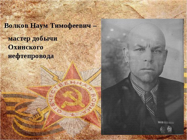 Волков Наум Тимофеевич – мастер добычи Охинского нефтепровода