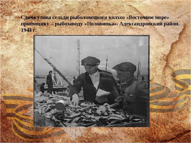 Сдача улова сельди рыболовецкого колхоз «Восточное море» приёмщику – рыбозаво...